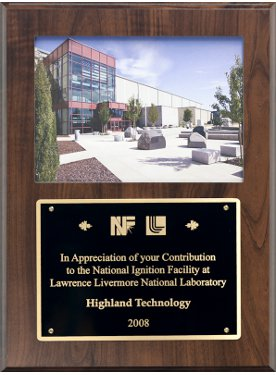 Plaque from National Ignition Facility at Lawrence Livermore National Labs