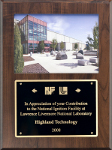 Award plaque from NIF